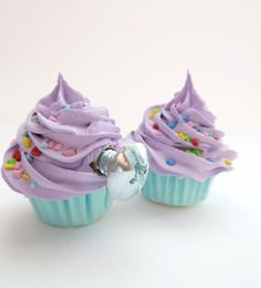 DECORATIVE KNOBS fake cupcake Door knobs set of 2 kitchen knobs drawer knobs (kitchen,bakery,girls room, coffee shop) purple icing. $16.00, via Etsy.