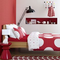 Bold red & white bedroom:  A lot to like :)