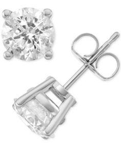 Macy's Star Signature Diamond Stud Earrings (2 ct. t.w.) in 14k White Gold - Silver