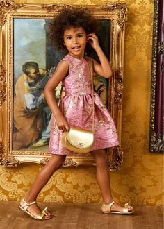 Dolce & Gabbana Girl Mini Me Pink Gold Brocade Party Dress. Inspired by D&G Women's Collection at Milan Fashion Week. Pink Dress, Flower Girl Dresses, Dolce And Gabbana Kids, Brocade Dresses, Gold Silk, Mini Me, Special Occasion Dresses, Pink Girl, Pink And Gold