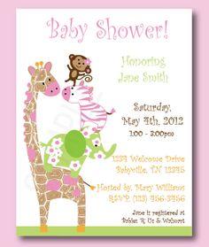 jungle baby shower invitations | Jungle Jill Birthday or Baby Shower Invitations, Set of 10 ...