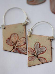 Blade Enamel Earrings - OOAK - Hand painted botanical motif - N. 5 by CynthiaDelGiudice on Etsy