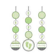 Hanging Cutouts Sweet Baby Feet Green/Case of 18