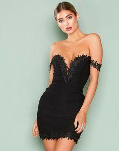 5872985037b5f Rare London Crochet Trim Bardot Dress Black Size UK 12 rrp 49 DH086 GG 05
