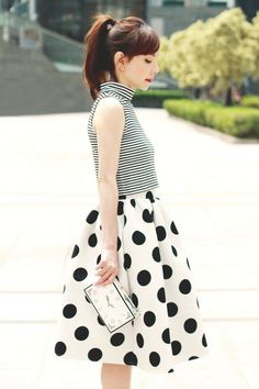 This would be a perfect outfit for :: Flirty Tea Length Polka Dot Skirt:: Retro Skirts:: Vintage Style Mode Style, Style Me, Look Man, Pin Up, Moda Fashion, Mixing Prints, Clothes Horse, Latest Fashion For Women, Spring Summer Fashion