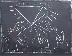 Keith Haring chalk drawings down in the NYC subway