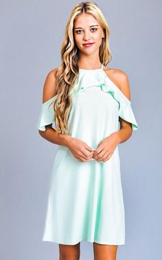 a4c0ca221 The Coral Cactus Boutique · Flirty Open Shoulders · Date Night Mint Open  Shoulder Dress Summer fashion, summer style, date night, open