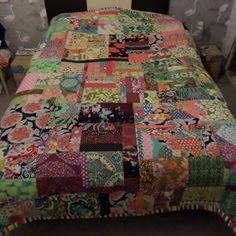 Patchwork quilt made from fabric scraps, remnants of my bag business