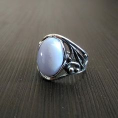 6 SIZE Ring Blue agate Blue Natural stone Silver Carved frame Russian Free shipping
