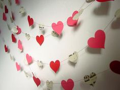 10ft or 20ft Garland - Hearts-Red-Pink-Music Sheets-Wedding Decor-Birthday-Bunting-Decoration-Festive-Bright-Baby Shower-Engagement Party