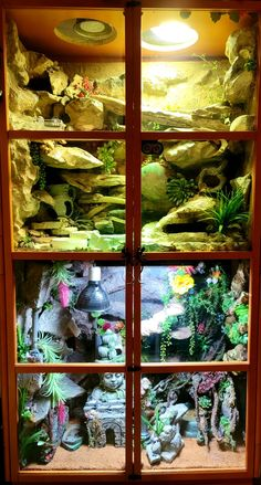 Bookcase becomes 2 homes for Leopard gecko. Created this using foam, grout, waterproof sealer, paint and faux plants. All handmade. Gecko Cage, Faux Plants, Grout, Bookcase, Homes, Handmade, Painting, Fake Plants, Houses