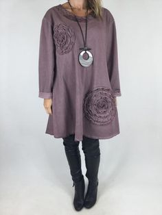 Lagenlook Quirky Flower Swirl Tunic in Dusky Pink. code 90688