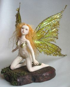 Polymer clay art doll fairy sculpture