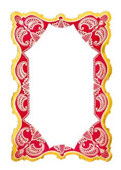Antique Images: Free Digital Frame Clip Art of Printable Red and Y...