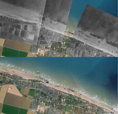 Juno Beach: Then and Now Juno Beach, D Day Landings, Military History, Then And Now, World War Two, Airplane View, City Photo, Saints, World War Ii
