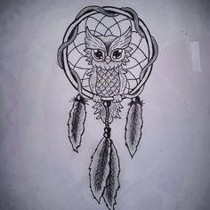 ✏ #nightdraw #inspiration #dreamcatcher #tattoo #owl