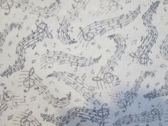 Music Lines Wavy White Black Cotton Fabric FQ or by scizzors
