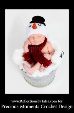 Snowman crochet hat and scarf for my little boy's newborn photos