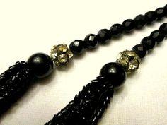 Black Glass Necklace Vintage Jet Black Faceted by AVintageStore