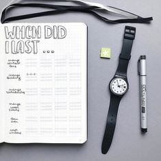 """Bullet journal """"When Did I Last"""" Page. 