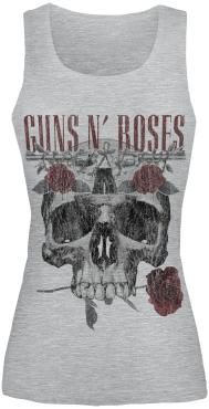 """Guns N' Roses Top, Women """"Flower Skull"""" grey • EMP"""