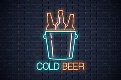 Beer bottles neon sign on wall background. Funny Phone Wallpaper, Neon Wallpaper, Beer Signs, Wine Signs, Neon Words, Neon Logo, Neon Design, Neon Aesthetic, Signage Design