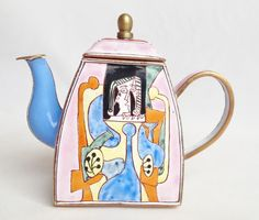 A Picasso-inspired miniature metal teapot by Charlotte di Vita; nivagcollectables.co.uk