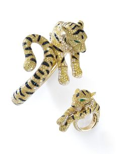 Best Diamond Bracelets : Suite of yellow diamond, onyx, emerald and diamond jewels, 'Sherkhan', Cartier… Cat Jewelry, Animal Jewelry, High Jewelry, Jewelry Accessories, Jewelry Design, Cartier Bracelet, Cartier Jewelry, Diamond Bracelets, Jewellery