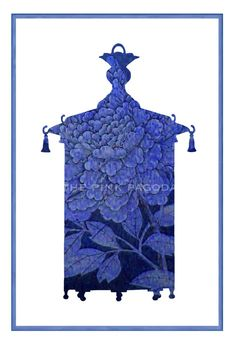 Blue Chinoiserie Lantern Silhouette Giclee 13x19 by thepinkpagoda, $45.00