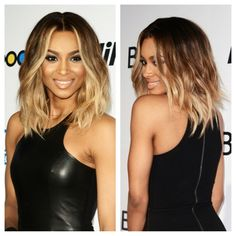 Obsessed with Ciara's wavy long bob & ombré