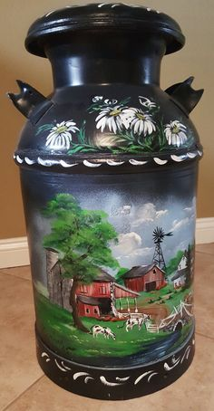 Your place to buy and sell all things handmade Beautiful hand painted Amish milk can. Milk Can Decor, Painted Milk Cans, Old Milk Jugs, Farm Yard, Tole Painting, Amish, Painting Inspiration, Flower Pots, Art Projects