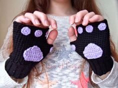 Your place to buy and sell all things handmade Kitten Mittens, Kawaii, Lilac Color, Pastel Goth, Fingerless Gloves, Arm Warmers, Etsy Seller, Tracking Number, Friends