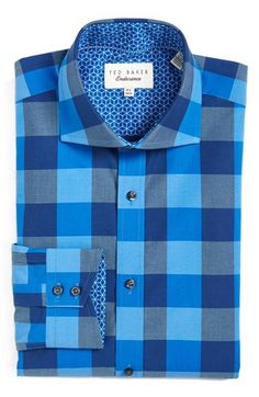 7290f4cbbf6 Ted Baker London  Duddon  Trim Fit Check Dress Shirt available at   Nordstrom Stylish