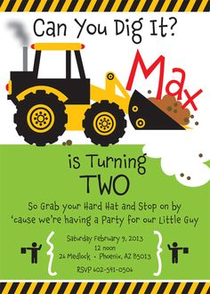 """""""Can You Dig It""""-Construction Truck Birthday Party Invitation for by TBoneSquid on Etsy."""
