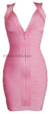 Pink Front Zip Bodycon Dress