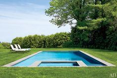 Beautiful lines and sleek design are the order of the day at Victoria Hagan's Connecticut home (Janus et Cie chaises line the pool edge)