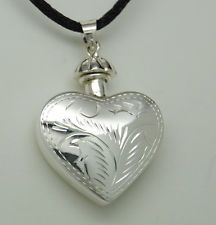 HEART CREMATION URN NECKLACE STERLING SILVER CREMATION JEWELRY BOTTLE URN