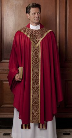 Salisbury Red Worcester Knit. Gold on claret mullion damask. Gold galloons. This design is also attractive on a foundation of Roman purple Abbey Cloth.