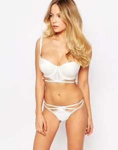 Image 4 of ASOS FULLER BUST BRIDAL Evie Satin & Lace Cut Out Thong