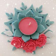 Il lato Perlato: Portacandela fiocco di neve sui toni dell'azzurro con roselline fuxia