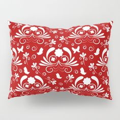 Abstract floral red, white Pillow Sham