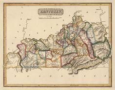 Map of Kentucky (c1817) by Fielding Lucas