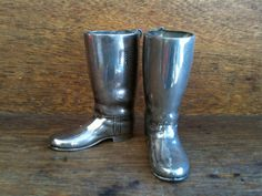 Vintage English Mini Silver Boots by EnglishShop on Etsy, $69.00