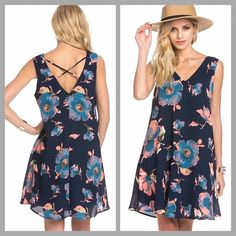 Floral Print Cross Back Dress Just when you thought shift dresses couldn't get any sweeter, we bring you this floral beauty! Pretty up your wardrobe with this Floral Print Cross Back Dress. ➖ Sizes available: Small, Medium, Large Dresses Mini