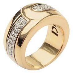 Di Modolo Heavy Diamond Gold Band Ring 7