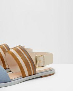 Flat buckle sandals - Ivory | Footwear | Ted Baker UK