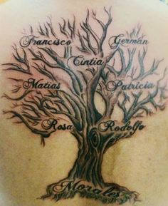 Family Tree Tattoo Designs With