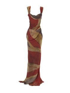 Vivienne Westwood Union Jack design takes on a vintage distressed look in silk chiffon for this classically draped corseted gown.