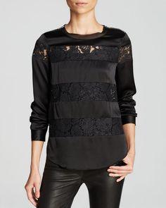 Rebecca Taylor Top - Silk Lace Stripe