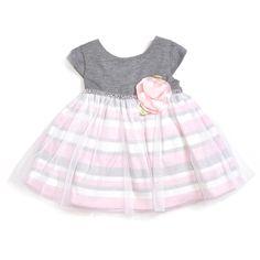Grey Stripe Glitter Tulle Dress (12-24m)